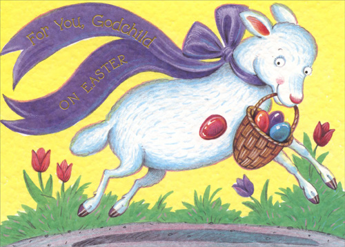 Lamb with basket godchild easter card by freedom greetings negle Choice Image