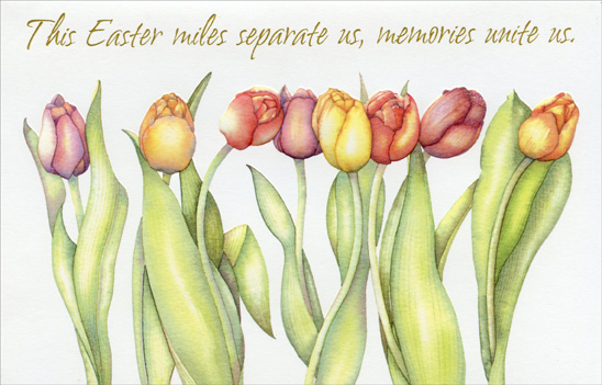 Embossed Tulips on White: Across the Miles (1 card/1 envelope) - Easter Card - FRONT: This Easter miles separate us, memories unite us.  INSIDE: No matter the season, or however long we've been apart, our friendship will always be in bloom. Happy Easter