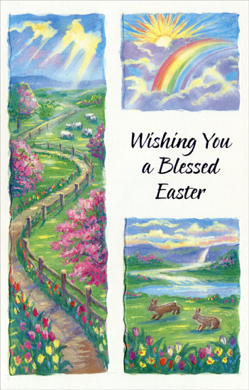 Three Panel Rainbow Blessed Easter (1 card/1 envelope) Religious Easter Card - FRONT: Wishing You a Blessed Easter  INSIDE: When you go to church on Easter, when you enter its welcoming door, When you hear the age-old story of salvation told once more, When you hear the bells repeating the Easter message, too, With its promise of life eternal that's meant for me and you� When you sing the dear old hymns about the Resurrection, then May all the joy of Easter live within your heart again. Have a Wonderful Easter