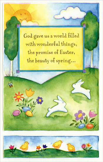 two panel hillside flowers and bunnies religious easter card by