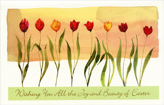 Eight Glitter Accented Tulips (1 card/1 envelope) - Easter Card - FRONT: Wishing You All the Joy and Beauty of Easter  INSIDE: At Eastertime, may you see� may you hear� may you touch something beautiful and new. Have a Very Happy Easter