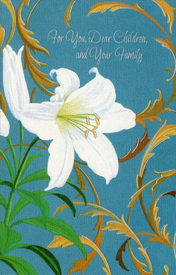 Single White Tulip with Swirling Vines: Children & Family (1 card/1 envelope) - Easter Card - FRONT: For You Dear Children and Your Family  INSIDE: When the lilies bloom, warm thoughts do, too, Thoughts filled with love for all of you, Along with special wishes that Easter Day will be filled with joy for you dear children and for your family. Happy Easter to All of You