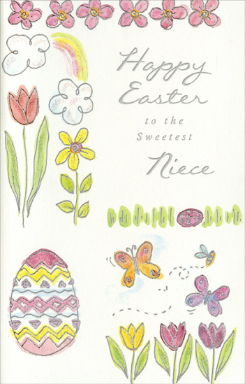 Pink & Yellow Flowers and Butterflies: Niece (1 card/1 envelope) Easter Card - FRONT: Happy Easter to the Sweetest Niece  INSIDE: Wishing you a wonderful Easter and a beautiful Spring.
