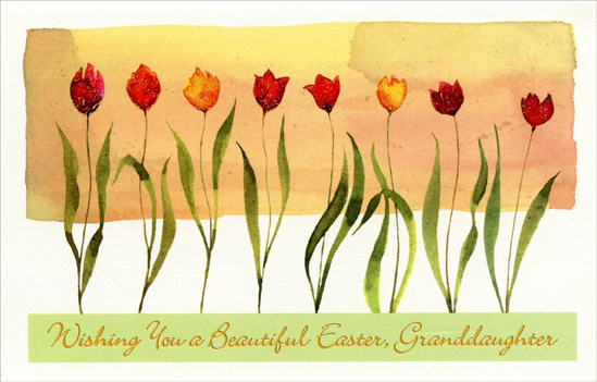 Eight Glitter Accented Tulips: Granddaughter (1 card/1 envelope) Easter Card - FRONT: Wishing You a Beautiful Easter, Granddaughter  INSIDE: At Eastertime, may you see� may you hear� may you touch something beautiful and new. Have a Very Happy Easter