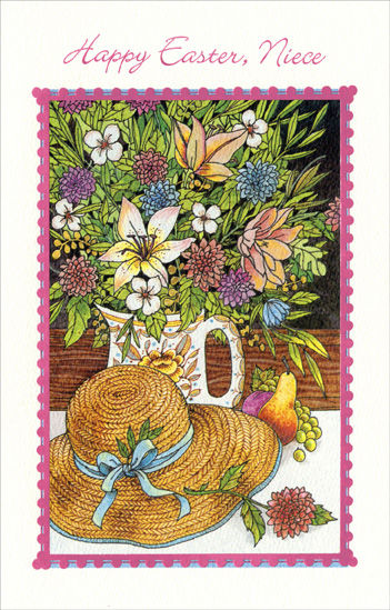 Straw Hat & Flowers in Cup: Niece (1 card/1 envelope) Easter Card - FRONT: Happy Easter, Niece  INSIDE: Hope all your Springtime dreams come true And Easter blossoms with joy for you! Love at Easter and Always