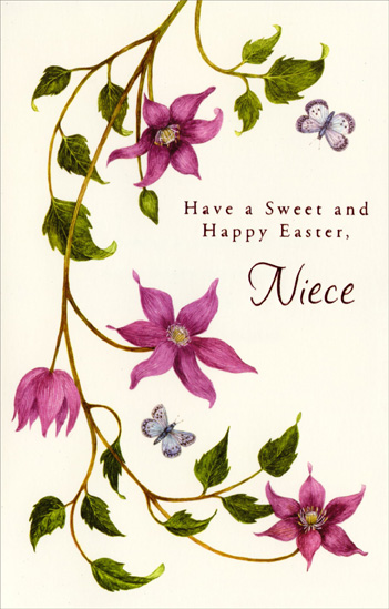 Purple Flowers on Long Vine: Niece (1 card/1 envelope) - Easter Card - FRONT: Have a Sweet and Happy Easter, Niece  INSIDE: Wishing a wonderful niece many happy moments filled with the peace and renewal of Easter.