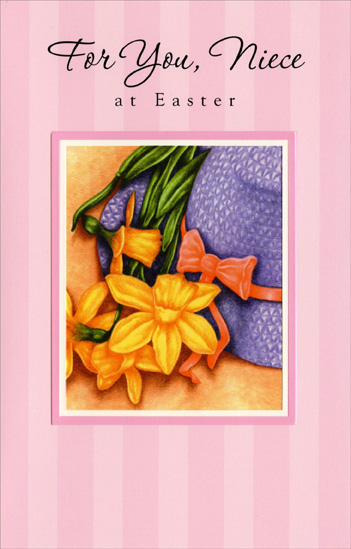 Straw Hat & Orange Flowers: Niece (1 card/1 envelope) Easter Card - FRONT: For You, Niece at Easter  INSIDE: Each thought of you, Niece, is just like Spring because you bring joy to everything! Happy Easter