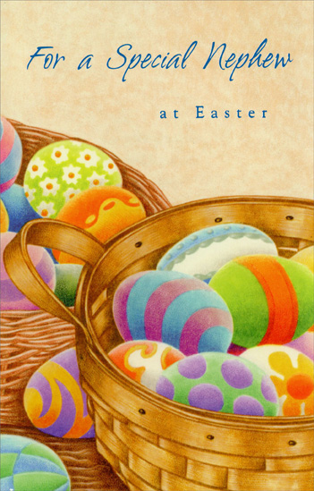 Two baskets of decorated eggs nephew easter card by freedom greetings negle Choice Image