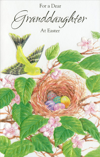 Easter Eggs in Bird Nest: Granddaughter (1 card/1 envelope) Easter Card - FRONT: For a Dear Granddaughter at Easter  INSIDE: You've always been, you'll always be a precious part of our family� And wished with love the joyous things this time of year so sweetly brings. Happy Easter