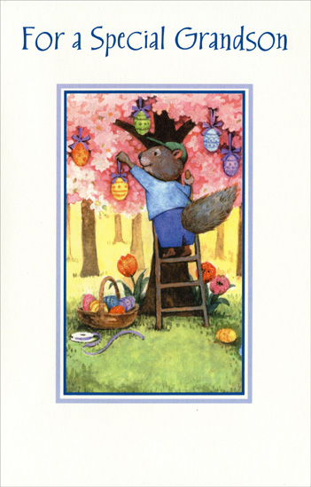 Squirrel Hanging Eggs on Tree: Grandson (1 card/1 envelope) Easter Card - FRONT: For a Special Grandson  INSIDE: What makes you special, Grandson, are all the little ways you fill our lives with color and brighten up our days. Happy Easter with Love