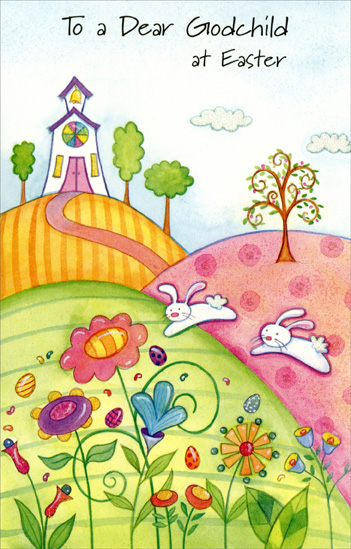 "Church on Rolling Hills, Bunnies, & Flowers: Godchild (1 card/1 envelope) Easter Card - FRONT: To a Dear Godchild at Easter  INSIDE: Wishing you lots of fun and joy at this happy time of year, Like the joy you bring to everyone by being very dear. Happy Easter! - ""And walk in love, as Christ also hath loved us."" Ephesians 5:2"