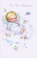 Baby on Cloud (1 card/1 envelope) - Baptism Card - FRONT: For Your Baptism  INSIDE: From now on, Jesus will be a part of all you do and He'll show, in many special ways, the love He has for you! - We love Him, because He first loved us. 1 JOHN 4:19
