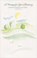 Soft Water Color Hills and Church (1 card/1 envelope) Freedom Greetings Christening Card