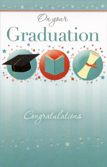 3 graduation symbols and tiny stars graduation card by freedom greetings m4hsunfo