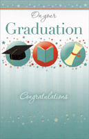 3 Graduation Symbols and Tiny Stars (1 card/1 envelope) - Graduation Card - FRONT: On Your Graduation - Congratulations  INSIDE: The future is waiting for you, and you're ready to meet it because you have both the knowledge and the character to succeed in whatever you set out to do. Congratulations