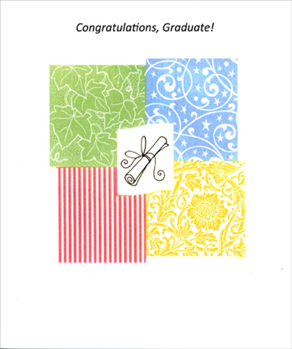Four Colored Squares And Diploma Graduation Card By Freedom Greetings