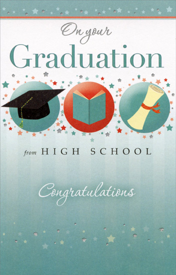 3 graduation symbols and tiny stars high school graduation card by 3 graduation symbols and tiny stars high school graduation card by freedom greetings m4hsunfo