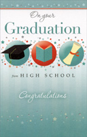 3 Graduation Symbols and Tiny Stars: High School (1 card/1 envelope) - Graduation Card - FRONT: On Your Graduation from High School - Congratulations  INSIDE: The future is waiting for you, and you're ready to meet it because you have both the knowledge and the character to succeed in whatever you set out to do. Congratulations