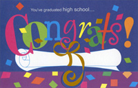 Confetti and Diploma Die Cut: High School (1 card/1 envelope) Freedom Greetings Graduation Card