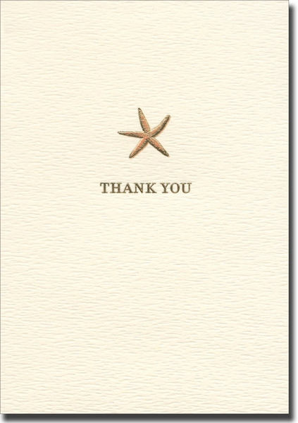 Starfish (10 cards/10 envelopes) Graphique de France Boxed Thank You Cards - FRONT: THANK YOU
