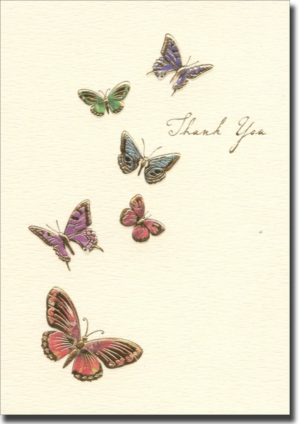 Butterflies (10 cards/10 envelopes) Graphique de France Boxed Thank You Cards - FRONT: Thank You