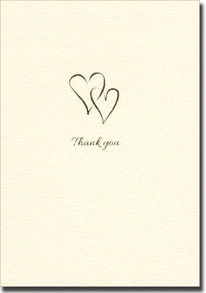 Interlocking Hearts (10 cards/10 envelopes) Graphique de France Boxed Thank You Cards - FRONT: Thank You