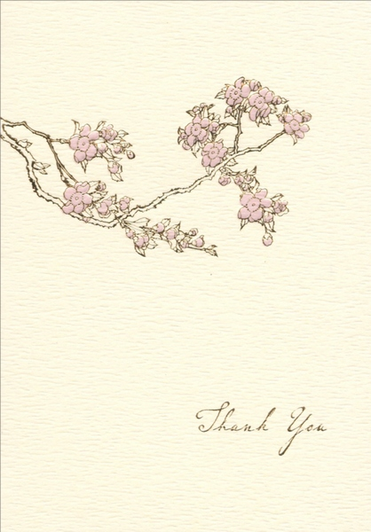 Cherry Blossom (10 cards/10 envelopes) Graphique de France Boxed Thank You Cards - FRONT: Thank You