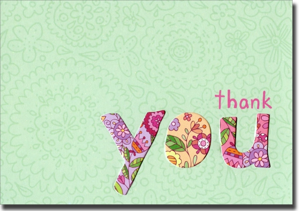 Floral Die-Cut Thank You (10 cards/10 envelopes) Graphique de France Boxed Thank You Cards - FRONT: thank you  INSIDE: thank you (Sooo much)