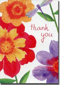 Betsey Cavallo Floral with Dragonfly (20 cards/20 envelopes) Graphique de France Boxed Thank You Cards - FRONT: thank you