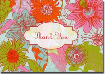 London Floral (20 cards/20 envelopes) Graphique de France Boxed Thank You Cards - FRONT: Thank You
