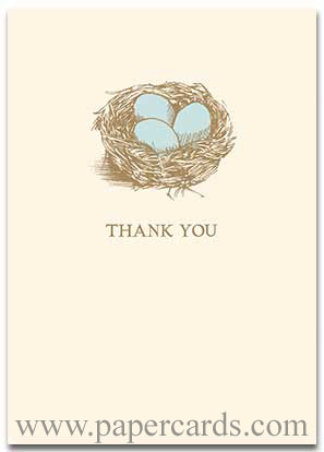 Robin's Nest (10 cards/10 envelopes) - Boxed Thank You Cards - FRONT: THANK YOU  INSIDE: Blank Inside
