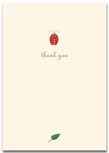 Ladybug (10 cards/10 envelopes) Graphique de France Boxed Thank You Cards - FRONT: thank you  INSIDE: Blank Inside