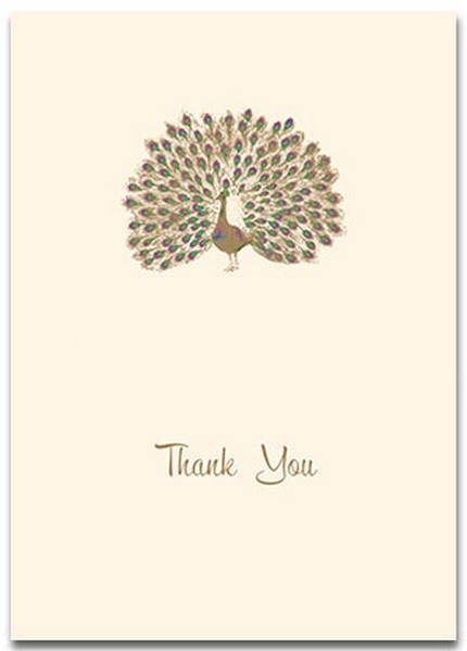 Proud Peacock (10 cards/10 envelopes) Graphique de France Boxed Thank You Cards - FRONT: Thank You  INSIDE: Blank Inside