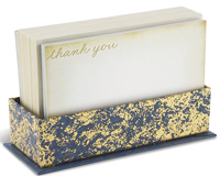Antique Blue (50 flat note cards/50 envelopes) - Boxed Thank You Note Cards - FRONT: thank you