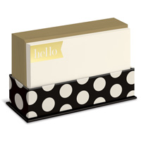 Black and Gold (50 flat note cards/50 envelopes) - Boxed Blank Note Cards - FRONT: hello
