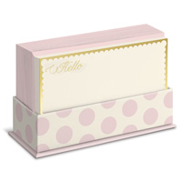 Blush Dots (50 flat note cards/50 envelopes) - Boxed Blank Note Cards - FRONT: Hello