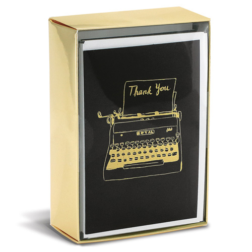 Hipster Typewriter 10 Boxed Thank You Note Cards by Graphique de ...