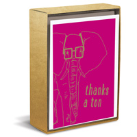 Hipster Elephant (10 cards/10 envelopes) - Boxed Thank You Note Cards - FRONT: thanks a ton