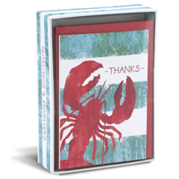 Weathered Lobster (10 cards/10 envelopes) - Boxed Thank You Note Cards - FRONT: THANKS