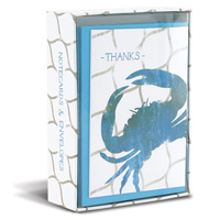 Weathered Crab (10 cards/10 envelopes) - Boxed Thank You Note Cards - FRONT: THANKS