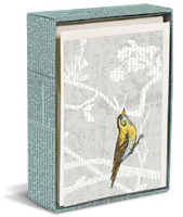 Bird Newsprint (20 cards/20 envelopes) - Boxed Blank Note Cards