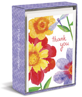 Betsey Cavallo Floral with Dragonfly (20 cards/20 envelopes) Graphique de France Boxed Thank You Cards