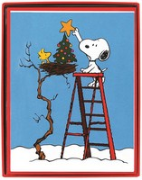 Woodstock and Snoopy Put Star on Tree Box of 15 Christmas Cards