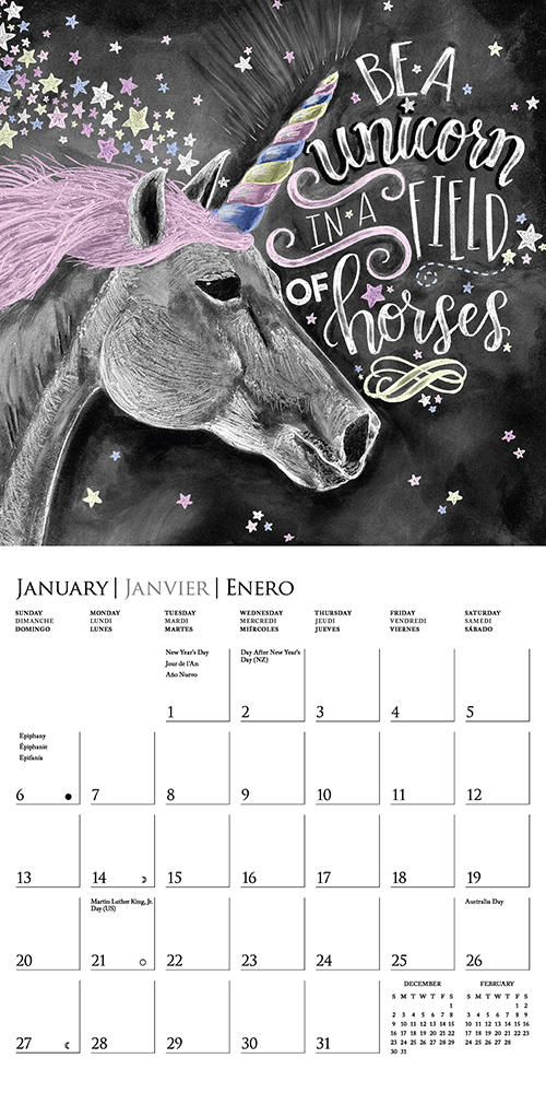 Chalkboard Quotes 16 Month 2019 Wall Calendar By Graphique De France