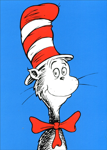 The Cat in the Hat (1 card/1 envelope) Dr. Suess Birthday Card - FRONT: No Text  INSIDE: Because birthdays are special, the presents!  the fun!  It's a shame that each year brings only one.