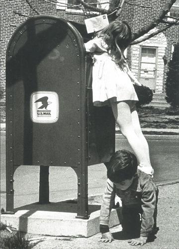 Girl Standing on Boy to Reach Mailbox (1 card/1 envelope) Blank Card - FRONT: No Text  INSIDE: Blank Inside