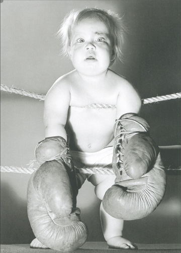 Prize Fighter Baby Wearing Boxing Gloves (1 card/1 envelope) - Birthday Card - FRONT: No Text  INSIDE: Another year older..  ..and you're still a Knock Out!  Happy Birthday
