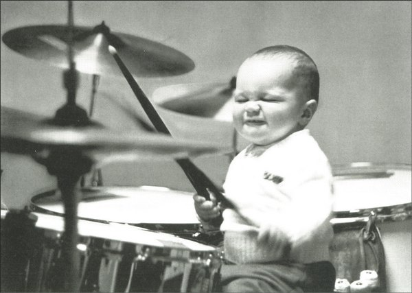 Playtime: Baby Playing Drums (1 card/1 envelope) - Birthday Card - FRONT: No Text  INSIDE: Have a jammin' birthday!