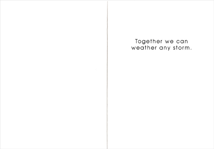 Two Children Under an Umbrella (1 card/1 envelope) Friendship Card - FRONT: No Text  INSIDE: Together we can weather any storm.