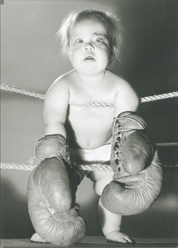 Prize Fighter Baby Wearing Boxing Gloves (1 card/1 envelope) Blank Card - FRONT: No Text  INSIDE: Blank Inside
